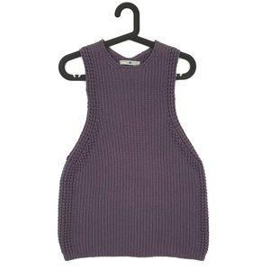 Vince Purple Waffle Stitch Ribbed Sweater Tank S